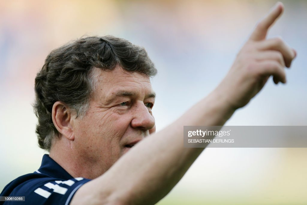 Greece's coach Otto Rehhagel gestures during a friendly football game against North Korea in Altach on May 25, 2010 ahead of their participation to the FIFA World Cup 2010 in South Africa.