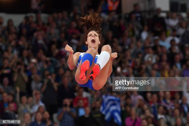 TOPSHOT Greece's Ekateríni Stefanídi wins gold in the final of the women's pole vault athletics event at the 2017 IAAF World Championships at the...