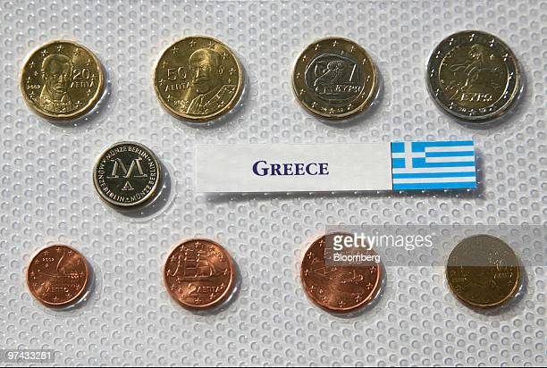 Greece's euro coins sit on display at the European Central Bank headquarters in Frankfurt Germany on Thursday March 4 2010 European Central Bank...