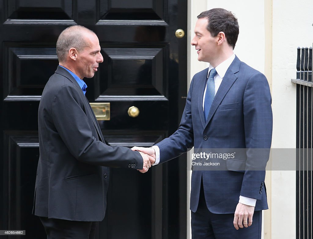 Greece's finance minister Yanis Varoufakis leaves Number 11 Downing Street after meeting Chancellor of the Exchequer George Osborne on February 2, 2015 in London, England. France's Socialist government offered support for Greece's efforts to renegotiate debt for its huge bailout plan, amid renewed fears about Europe's economic stability. The backing was a victory for Varoufakis as he seeks new conditions on debt from creditors who rescued Greece's economy to save the shared euro currency.