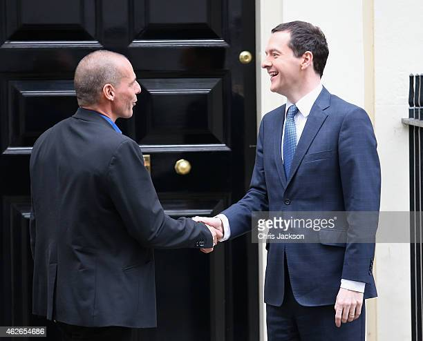 Greece's finance minister Yanis Varoufakis leaves Number 11 Downing Street after meeting Chancellor of the Exchequer George Osborne on February 2...