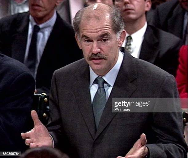 Greece's Foreign Minister George Papandreou answers questions about the future of the Elgin Marbles in in front of the House of Commons culture...