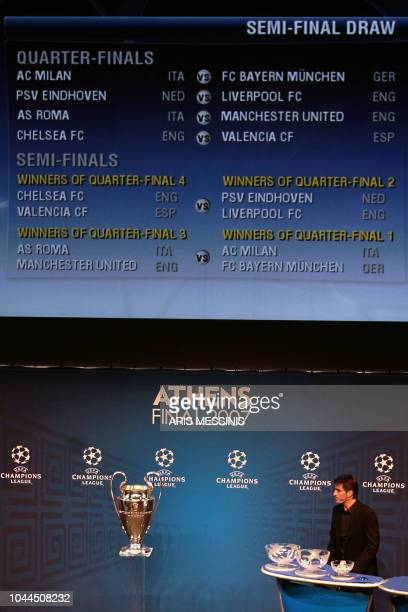 Greece's former national football team captain Thodoris Zagorakis addresses the Champions League quarterfinal and semifinal draw held in Athens 09...