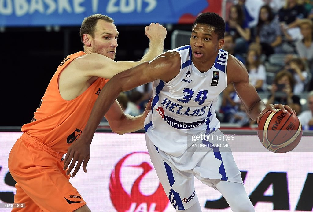 Greece's forward Giannis Antetokounmpo (R) vies with Netherlands' forward Kees Akerboom during the Group C qualification basketball match between Greece and Netherlands at the EuroBasket 2015 in Zagreb on September 10, 2015.
