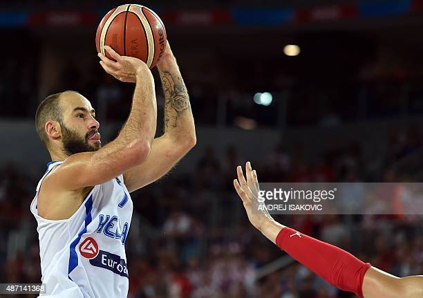 Greece's guard Vassilis Spanoulis shoots the ball during the Group C qualification basketball match between Greece and Croatia at the EuroBasket 2015...