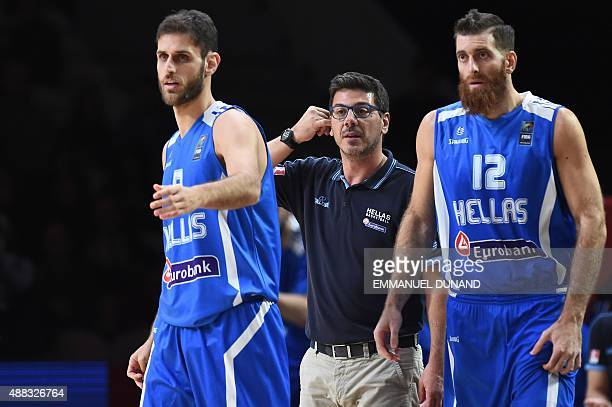 Greece's head coach Fotis Katsikaris reacts during the round of 8 basketball match between Spain and Greece at the EuroBasket 2015 in Lille northern...
