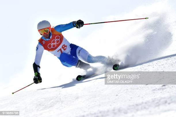 Greece's Ioannis Antoniou competes in the Men's Giant Slalom at the Jeongseon Alpine Center during the Pyeongchang 2018 Winter Olympic Games in...