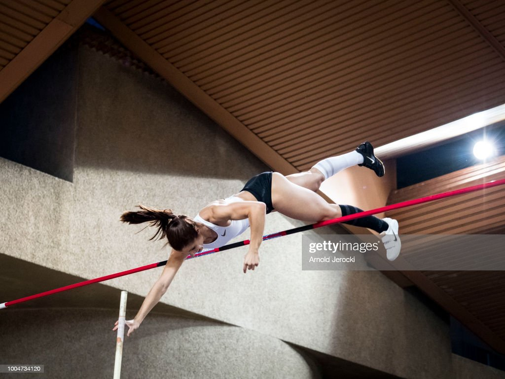 Greece's Katerina Stefanidi clears the bar as she competes in the women's pole vault at the IAAF Diamond League athletics 'Herculis' meeting at The Stade Louis II on July 20, 2018 in Monaco, Monaco.