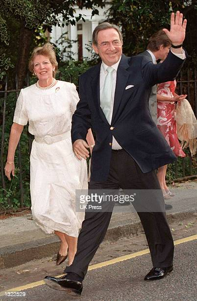 Greece''s King Constantine and Queen Anne Marie attend a summer party hosted by Sir David Frost July 4 2001 at his home in Chelsea London