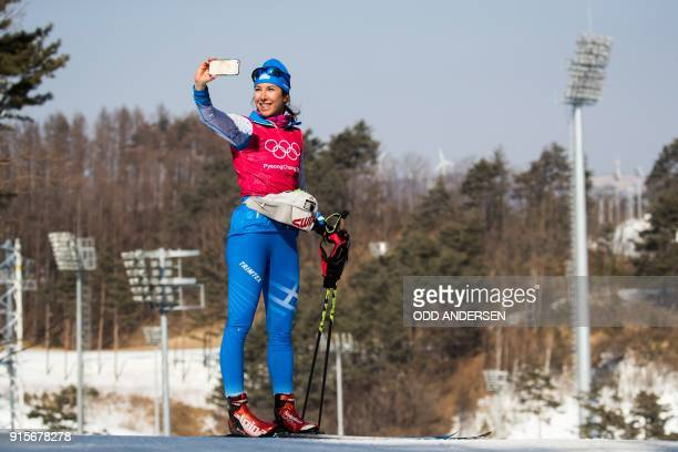 Greece's Maria Ntanou takes a selfie during a crosscountry practice session at the Alpensia CrossCountry Skiing Centre on the eve of the opening of...