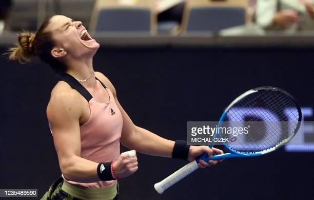 Greece's Maria Sakkari reacts after winning against Poland's Iga Swiatek during their women's singles semi-final match of the Ostrava Open WTA tennis...