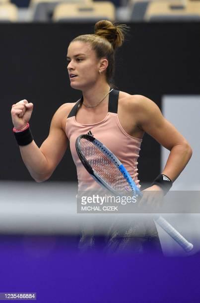 Greece's Maria Sakkari reacts as she plays against Poland's Iga Swiatek during their women's singles semi-final match of the Ostrava Open WTA tennis...
