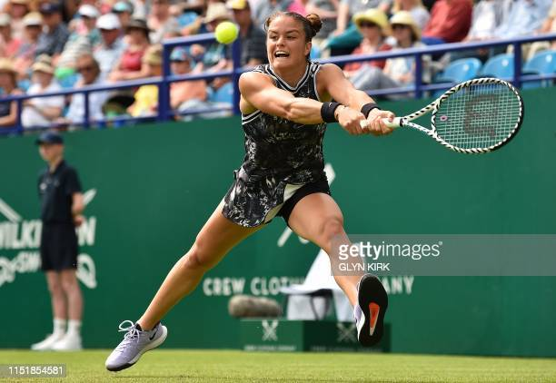 Greece's Maria Sakkari returns against Britain's Johanna Konta during their women's second round match at the WTA Nature valley International tennis...