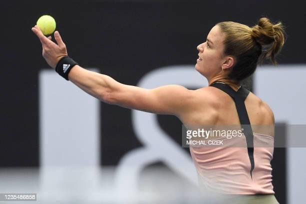 Greece's Maria Sakkari serves a ball to Poland's Iga Swiatek during their women's singles semi-final match of the Ostrava Open WTA tennis tournament...