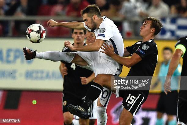 Greece's midfielder Kostas Fortounis tries to control the ball during during their FIFA World Cup 2018 qualifying Group H football match between...