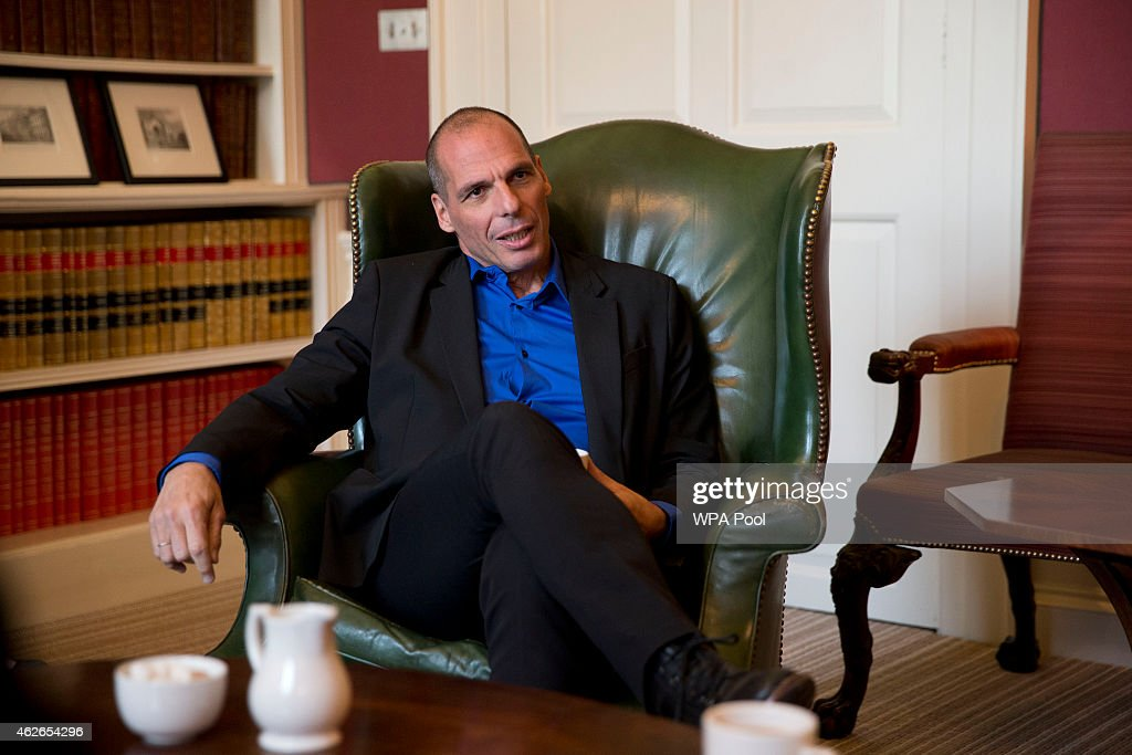 Greece's new finance minister Yanis Varoufakis speaks to British Chancellor Of The Exchequer George Osborne, (not pictured) during their meeting at 11 Downing Street on February 2, 2015 in London, England. France's Socialist government offered support Sunday for Greece's efforts to renegotiate debt for its huge bailout plan, amid renewed fears about Europe's economic stability. The backing was a victory for Varoufakis as he seeks new conditions on debt from creditors who rescued Greece's economy to save the shared euro currency.