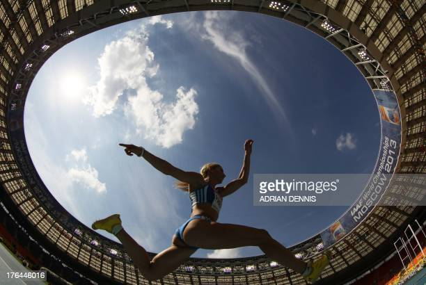 Greece's Niki Panetta competes in the women's triple jump qualifications at the 2013 IAAF World Championships at the Luzhniki stadium in Moscow on...