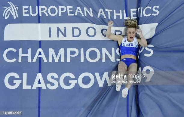 TOPSHOT Greece's Nikoleta Kiriakopoulou competes in the womens pole vault final at the 2019 European Athletics Indoor Championships in Glasgow on...