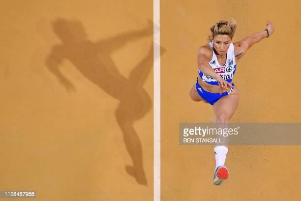 Greece's Paraskevi Papahristou competes in the womens triple jump final at the 2019 European Athletics Indoor Championships in Glasgow on March 3 2019