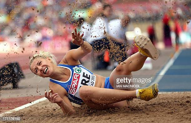 Greece's Paraskevi Papahristou competes in the women's triple jump during day one of the European Athletics Team Championships at Gateshead Stadium...
