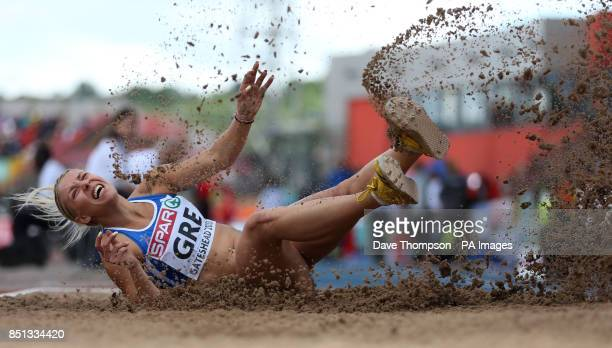 Greece's Paraskevi Papahristou competes in the womens triple jump during day one of the 2013 European Athletics Team Championships at Sage Gateshead,...