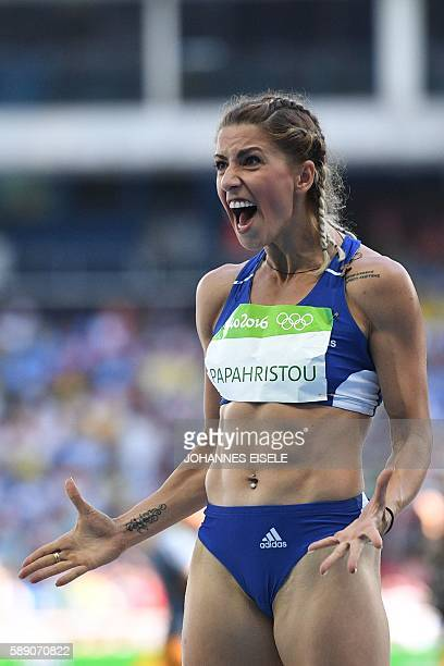 Greece's Paraskevi Papahristou reacts in the Women's Triple Jump Qualifying Round during the athletics event at the Rio 2016 Olympic Games at the...