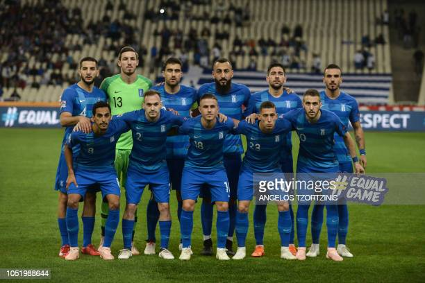 Greece's players pose before the UEFA Nations League football match between Greece and Hungary at the Karaiskaki stadium in Athens on October 12 2018