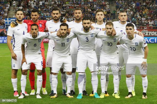 Greece's players pose for a photo before the start of the match between Greece and Estonia at Georgios Karaiskakis Stadium