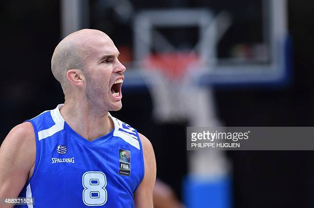Greece's point guard Nick Calathes reacts during the round of 8 basketball match between Spain and Greece at the EuroBasket 2015 in Lille northern...