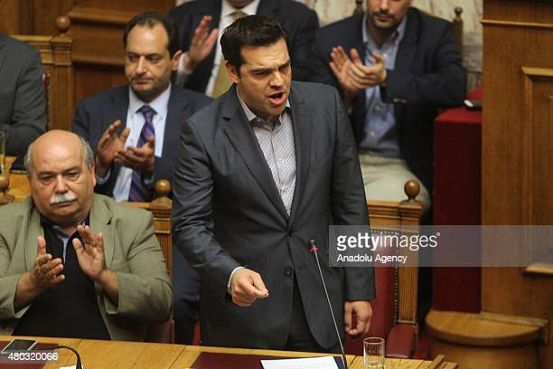 Greece's Prime Minister Alexis Tsipras delivers a speech during a parliament meeting in Athens Greece on July 11 2015 Greek lawmakers have approved a...