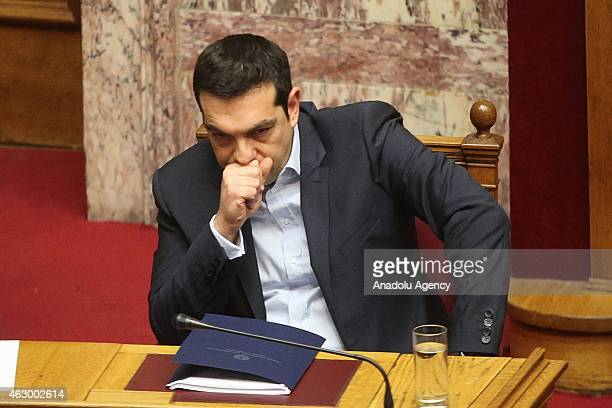 Greece's Prime Minister Alexis Tsipras gestures during government's policy statement in Athens on February 8 2015