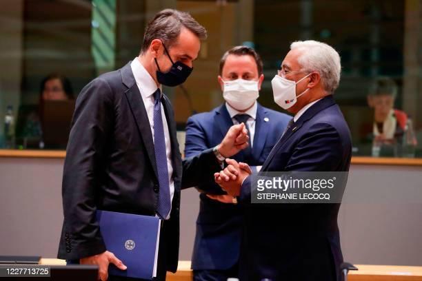 Greece's Prime Minister Kyriakos Mitsotakis Luxembourg's Prime Minister Xavier Bettel and Portuguese's Prime Minister Antonio Costa participate in a...