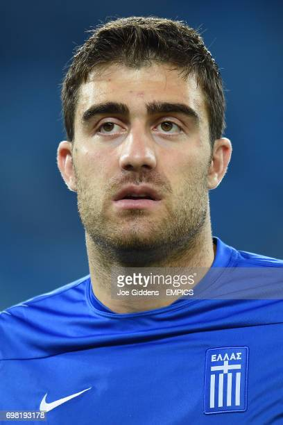 Greece's Sokratis Papastathopoulos during a training session at Arena das Dunas in Natal