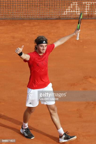 Greece's Stefanos Tsitsipas celebrates after winning his tennis match against Canada's Denis Shapovalov at the MonteCarlo ATP Masters Series...