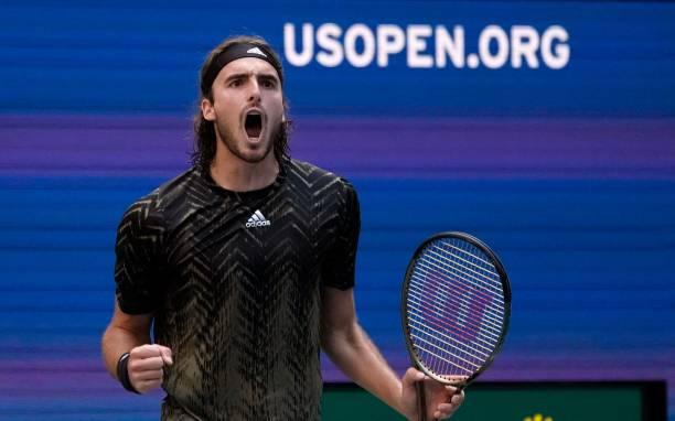 Greece's Stefanos Tsitsipas celebrates during his 2021 US Open Tennis tournament men's singles third round match against Spain's Carlos Alcaraz at...