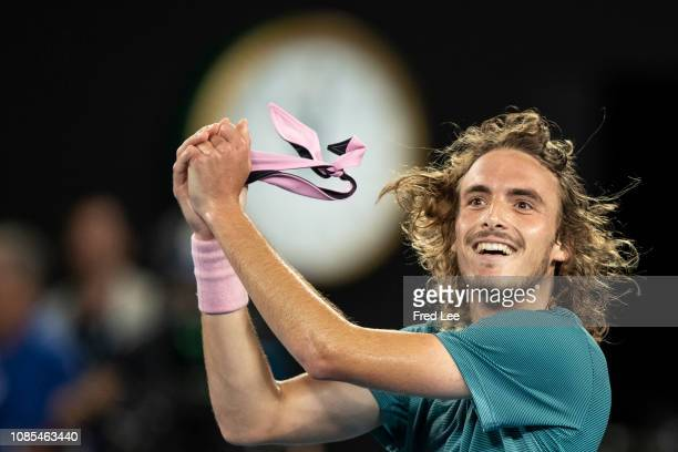 Greece's Stefanos Tsitsipas celebrates his victory against Switzerland's Roger Federer during their men's singles match on day seven of the...