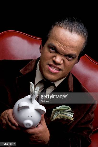Greedy Man with Piggy Bank and Cash