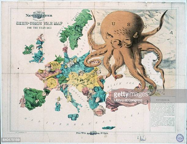 A greedy octopus represents Russia in the year 1877 as it tries to expand into Europe Each country is characterized by a different human figure