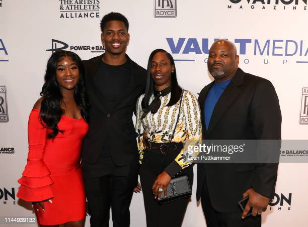 Greedy Williams and family attend the Vault Media Group and Ovation Magazine 2019 NFL Draft kickoff party at STK Nashville on April 24 2019 in...