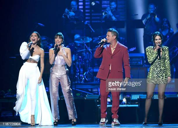 Greeicy Aitana Alejandro Sanz and Nella perform onstage during the 20th annual Latin GRAMMY Awards at MGM Grand Garden Arena on November 14 2019 in...