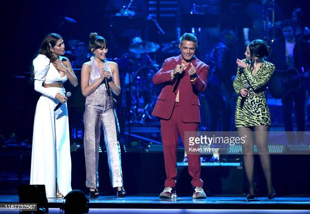 Greeicy Aitana Alejandro Sanzs and Nella perform onstage during the 20th annual Latin GRAMMY Awards at MGM Grand Garden Arena on November 14 2019 in...