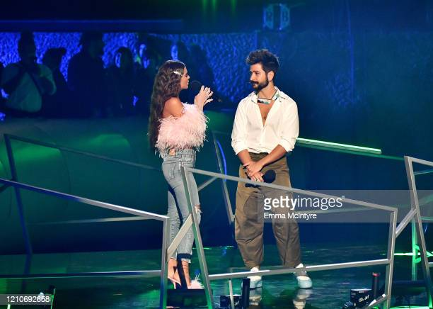 Greeicy and Camilo speak onstage during the 2020 Spotify Awards at the Auditorio Nacional on March 05, 2020 in Mexico City, Mexico.
