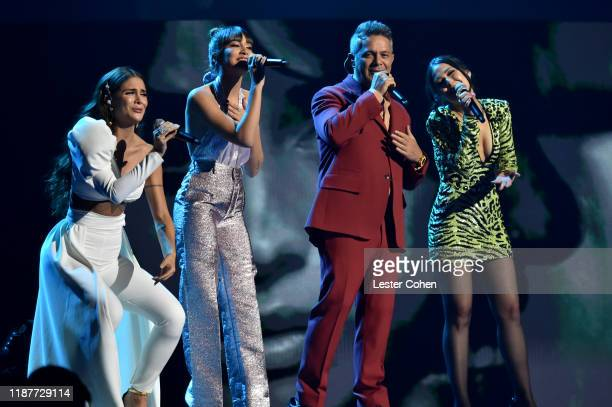 Greeicy Rendón Aitana Ocaña Alejandro Sanz and Nella perform onstage during the 20th annual Latin GRAMMY Awards at MGM Grand Garden Arena on November...