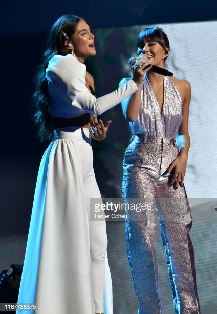 Greeicy Rendón and Aitana Ocaña perform onstage during the 20th annual Latin GRAMMY Awards at MGM Grand Garden Arena on November 14 2019 in Las Vegas...