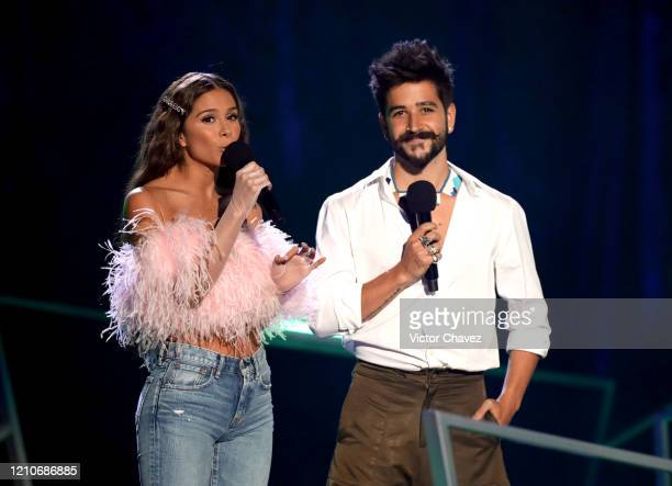 Greeicy Rendón and Camilo speak onstage during the 2020 Spotify Awards at the Auditorio Nacional on March 05, 2020 in Mexico City, Mexico.