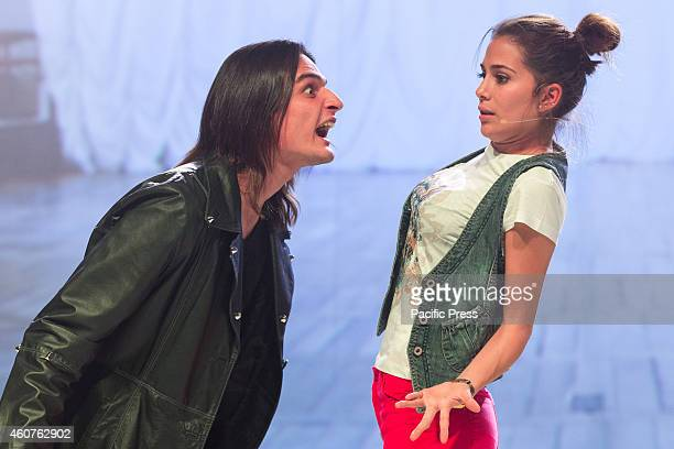 Greeicy Rendon as Daisy star of the telefilm for teenagers Chica Vampiro with Eduardo Martinez as Mirko during the final rehearsal of the show which...