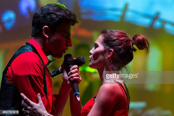 Greeicy Rendon as Daisy star of the telefilm for teenagers Chica Vampiro with Santiago Talledo as Max during the final rehearsal of the show which...