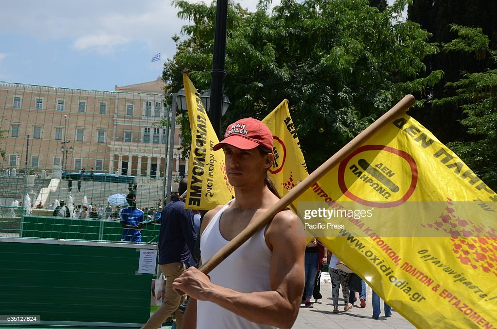 Greek Activist Member Of I Dont Pay Movement Demonstrated