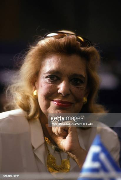 Greek actress and politician Melina Mercouri attends congress of French Socialist party on March 13 1990 in Rennes France