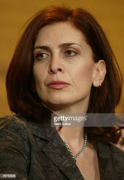 """Greek actress Katerina Didaskalou attends the news conference to the French film """"Triple Agent"""" at the 54th annual Berlinale International Film..."""